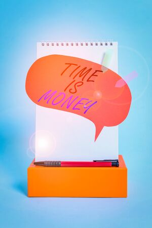 Word writing text Time Is Money. Business photo showcasing time is a valuable resource Do things as quickly as possible Notepad box speech bubble arrow banners ballpoint cool pastel background