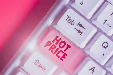 Writing note showing Hot Price. Business concept for Buyer or seller can obtain something for a product sold or buy