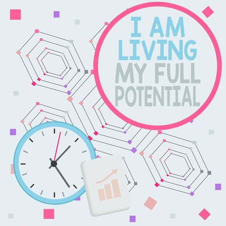 Handwriting text I Am Living My Full Potential. Conceptual photo Embracing opportunities using skills abilities Layout Wall Clock Notepad with Escalating Bar Graph and Arrow Pointing Up Фото со стока