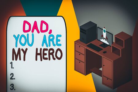 Word writing text Dad You Are My Hero. Business photo showcasing Admiration for your father love feelings compliment Working desktop station drawers personal computer launching rocket clouds
