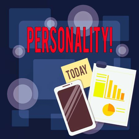 Writing note showing Personality. Business concept for combination characteristics that form individuals character Layout Smartphone Sticky Notes with Pie Chart and Bar Graph 免版税图像