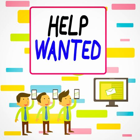 Writing note showing Help Wanted. Business concept for An ad in the paper an employer places to find a new employee SMS Email Marketing Media Audience Attraction PC Loudspeaker