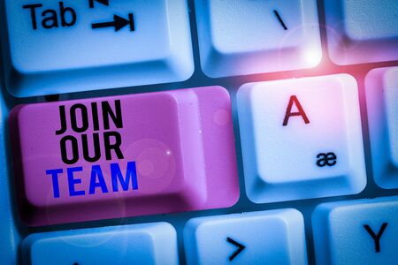 Handwriting text Join Our Team. Conceptual photo Hiring Vacancy Huanalysis resource recruitment Manpower hunt White pc keyboard with empty note paper above white background key copy space