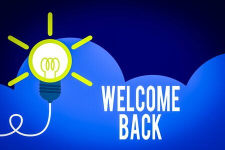 Handwriting text Welcome Back. Conceptual photo something back to greet the return of someone or something Big idea light bulb. Successful turning idea invention innovation. Startup Stock Photo