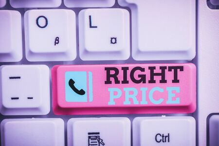 Conceptual hand writing showing Right Price. Concept meaning the amount of money that it is reasonable for the product Keyboard with note paper on white background key copy space