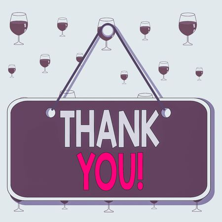 Text sign showing Thank You. Business photo showcasing polite expression used when acknowledging gift service compliment Colored memo reminder empty board blank space attach background rectangle