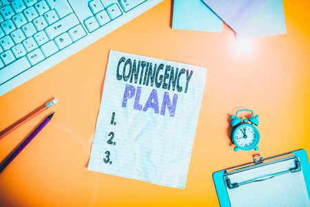 Text sign showing Contingency Plan. Business photo text A plan designed to take account of a possible future event Copy space on notebook above yellow background with keyboard on table