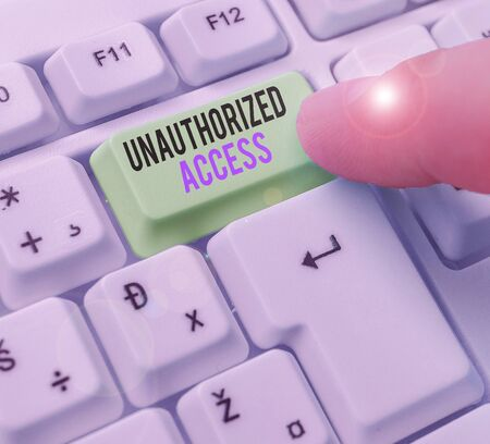 Conceptual hand writing showing Unauthorized Access. Concept meaning use of a computer or network without permission