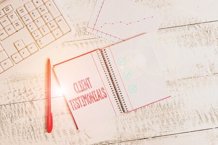 Conceptual hand writing showing Client Testimonials. Concept meaning Written recommendation from a satisfied customer Papercraft desk square spiral notebook office study supplies