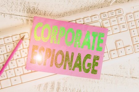 Handwriting text writing Corporate Espionage. Conceptual photo form of espionage conducted for commercial purpose White keyboard office supplies empty rectangle shaped paper reminder wood