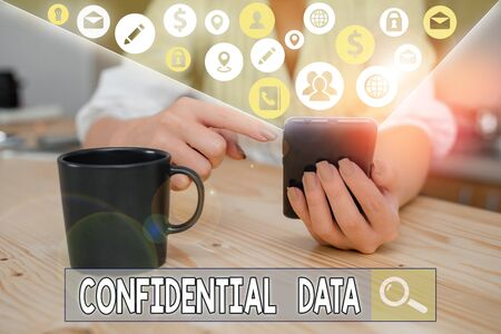 Word writing text Confidential Data. Business photo showcasing information that is not available to the general public
