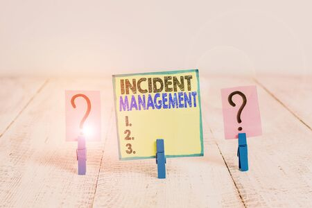 Handwriting text writing Incident Management. Conceptual photo Activities of a company to identify and correct hazards Scribbled and crumbling sheet with paper clips placed on the wooden table