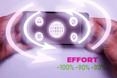 Word writing text Effort 100 90 80. Business photo showcasing Level of determination discipline motivation
