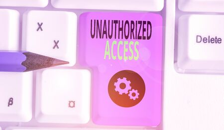 Handwriting text writing Unauthorized Access. Conceptual photo use of a computer or network without permission Archivio Fotografico