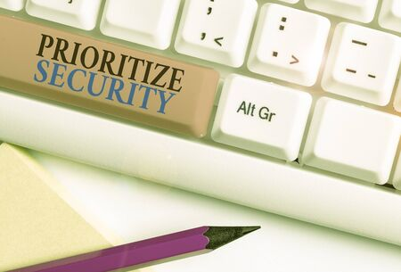 Conceptual hand writing showing Prioritize Security. Concept meaning designate security risk as more important to solve Stockfoto