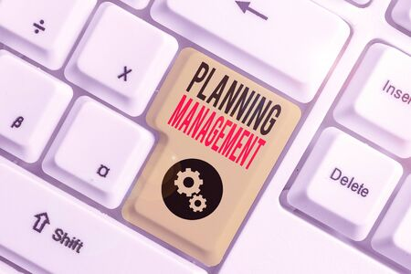 Writing note showing Planning Management. Business concept for act or process of making or carrying out plans