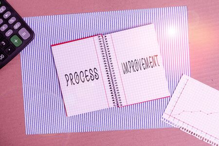 Word writing text Process Improvement. Business photo showcasing ongoing effort to improve products services or processes Striped paperboard notebook cardboard office study supplies chart paper