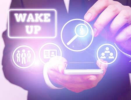 Text sign showing Wake Up. Business photo showcasing an instance of a demonstrating waking up or being woken up Rise up