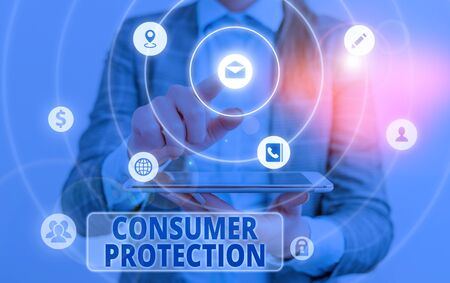 Conceptual hand writing showing Consumer Protection. Concept meaning regulation that aim to protect the rights of consumers