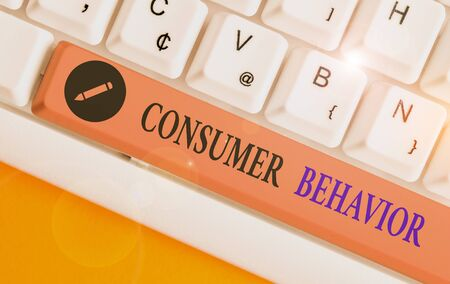Conceptual hand writing showing Consumer Behavior. Concept meaning study of how individual customers interacts with the brand