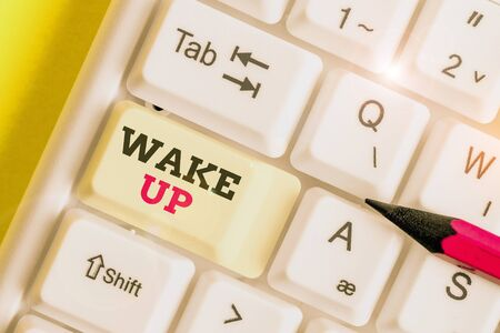 Handwriting text Wake Up. Conceptual photo an instance of a demonstrating waking up or being woken up Rise up