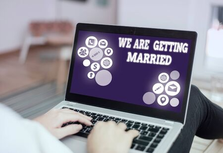 Handwriting text writing We Are Getting Married. Conceptual photo Engagement Wedding preparation Loving couple