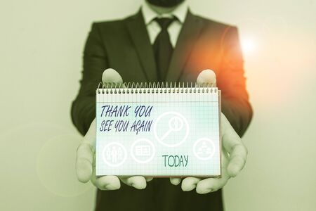 Handwriting text writing Thank You See You Again. Conceptual photo Appreciation Gratitude Thanks I will be back soon