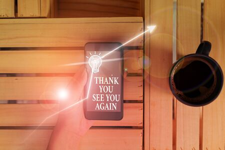 Conceptual hand writing showing Thank You See You Again. Concept meaning Appreciation Gratitude Thanks I will be back soon Stock fotó