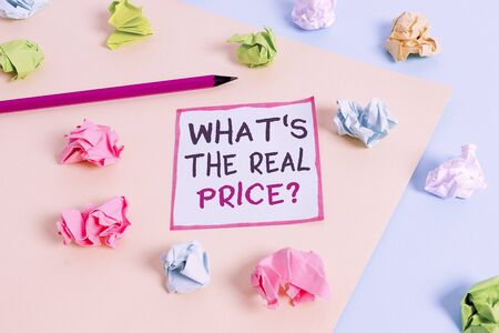 Word writing text What s is The Real Price question. Business photo showcasing Give actual value of property or business Colored crumpled papers empty reminder blue yellow background clothespin Standard-Bild
