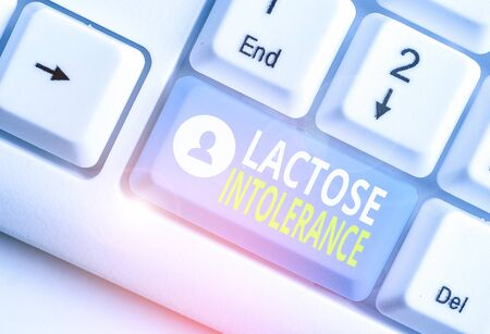 Text sign showing Lactose Intolerance. Business photo showcasing digestive problem where body is unable to digest lactose 写真素材