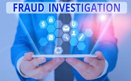 Escritura de texto Word investigación de fraude. Proceso de presentación de fotografías de negocios para determinar si se ha producido una estafa