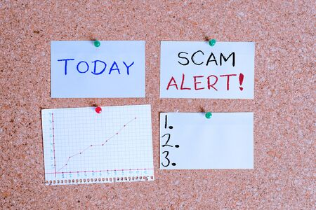 Word writing text Scam Alert. Business photo showcasing fraudulently obtain money from victim by persuading him Corkboard color size paper pin thumbtack tack sheet billboard notice board