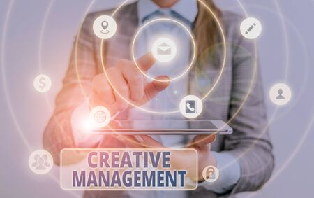 Conceptual hand writing showing Creative Management. Concept meaning Managing of creative thinking skills and mental process Stock Photo