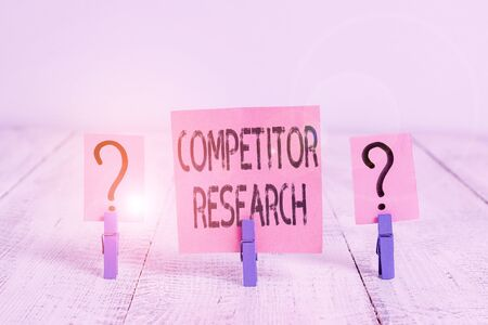 Text sign showing Competitor Research. Business photo showcasing collection and review of information about rival firms Scribbled and crumbling sheet with paper clips placed on the wooden table Stock fotó