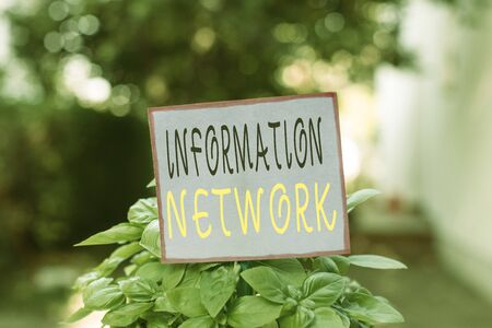 Conceptual hand writing showing Information Network. Concept meaning computers were linked together to share information Plain paper attached to stick and placed in the grassy land
