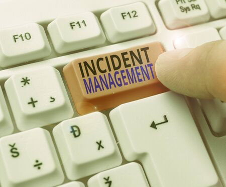 Handwriting text writing Incident Management. Conceptual photo Activities of a company to identify and correct hazards
