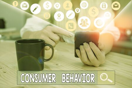 Word writing text Consumer Behavior. Business photo showcasing study of how individual customers interacts with the brand