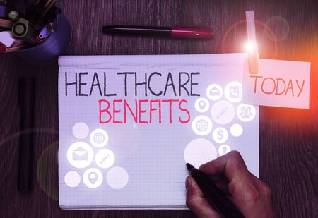 Handwriting text Healthcare Benefits. Conceptual photo use the health services without risk of financial ruin