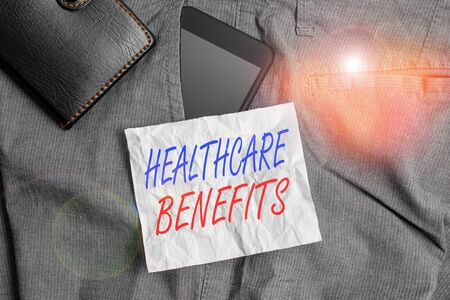 Text sign showing Healthcare Benefits. Business photo text use the health services without risk of financial ruin Smartphone device inside trousers front pocket with wallet and note paper Stok Fotoğraf