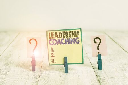 Handwriting text writing Leadership Coaching. Conceptual photo individualized process that builds a leader s is capability Scribbled and crumbling sheet with paper clips placed on the wooden table