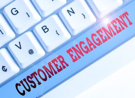 Text sign showing Customer Engagement. Business photo showcasing the emotional connection between a customer and a brand Фото со стока