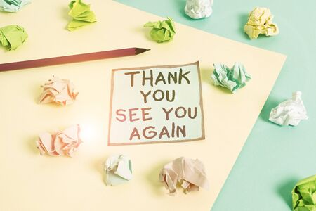 Word writing text Thank You See You Again. Business photo showcasing Appreciation Gratitude Thanks I will be back soon Colored crumpled papers empty reminder blue yellow background clothespin