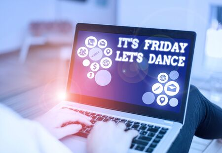 Handwriting text writing It s Friday Let s Dance. Conceptual photo Celebrate starting the weekend Go party Disco Music