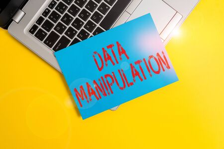 Text sign showing Data Manipulation. Business photo showcasing the process of changing data to make it easier to read Part view trendy metallic laptop clipboard paper sheet colored background