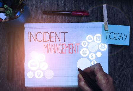 Handwriting text Incident Management. Conceptual photo Activities of a company to identify and correct hazards Foto de archivo