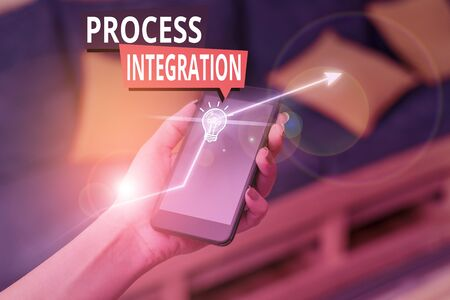 Handwriting text Process Integration. Conceptual photo sharing of data and events between business processes