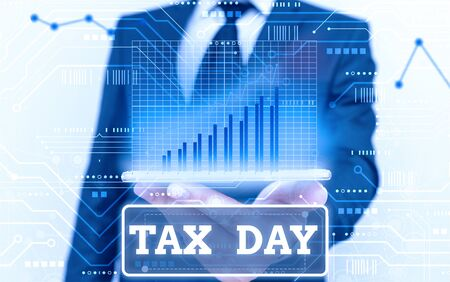 Conceptual hand writing showing Tax Day. Concept meaning colloquial term for time on which individual income tax returns