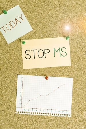 Text sign showing Stop Ms. Business photo text treat the condition that can affect the brain and spinal cord Corkboard color size paper pin thumbtack tack sheet billboard notice board 版權商用圖片