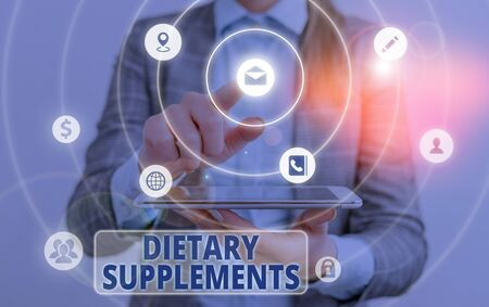 Conceptual hand writing showing Dietary Supplements. Concept meaning Product taken orally intended to supplement ones diet