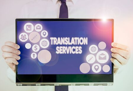 Writing note showing Translation Services. Business concept for organization that provide showing to translate speech